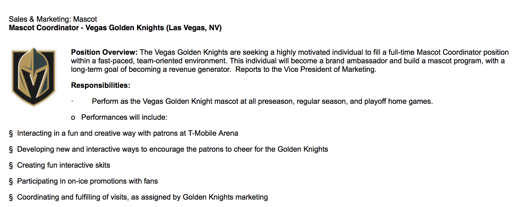 Apply To Be The Golden Knight Sinbin Vegas